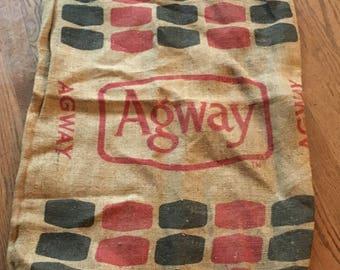 Agway Feed Sack, Rustic, upcycle, Vintage, New Hampshire, Burlap Bag
