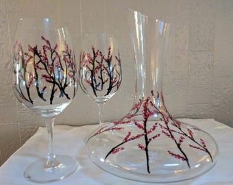 Hand painted wine glasses with wine carafe