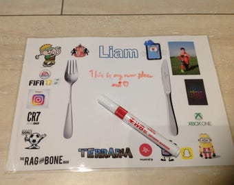 Personalised dinner mat / placemat for boys football, golf and gaming with FREE dry wipe pen