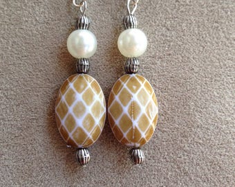 Tan and Pearl colored drop earrings