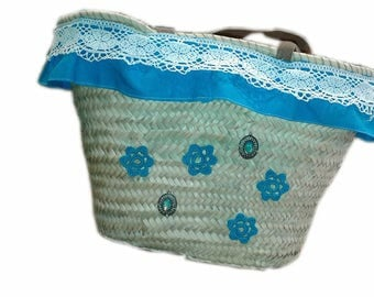 Straw bag Turquoise