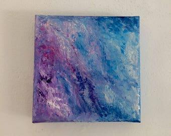 Acrylic galaxy canvas, iridescent acrylic, texturised acrylic, painting 20 x 20 canvas