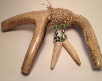 Faux Golden Fish Hooks, White Tail Antler Tip Earrings