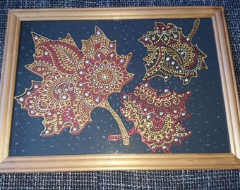 Original Dotted Stile Pointillism Art 'Maple Leaves' Painting on glass 100% Hand painted