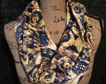Doctor Who Infinity Scarf Gold Tardis Infinity Scarf Blue Tardis Infinity Scarf