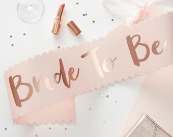 Pink & Rose Gold Bride To Be Sash, Hen Party, Team Bride, Bachelorette Party, Bride To Be, Hen Night Props