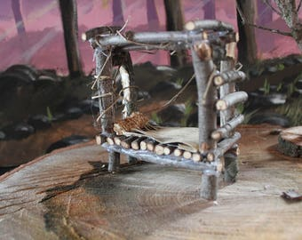 Enchanted cute Miniature Fairy Bed made from rustic foraged materials