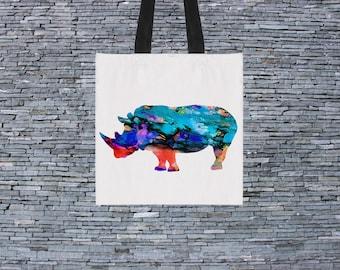 Rhino Bag - Art Tote Bag - Art Market Bag - Fashion Tote