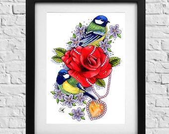 Birds, Rose, Heart Locket Tattoo Print