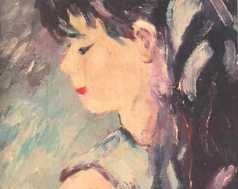 Portrait Painting / Vintage Oil Portrait of a Little Girl