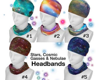 Stars, Cosmic Gasses, Nebula, Headband, Neck Scarf, Yoga Headband, Workout Headband, Boho Headband, Fitness headband, Yoga, Hair Fashion