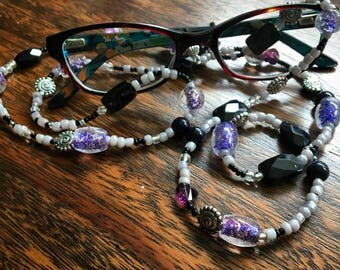Purple and Black Glasses Necklace
