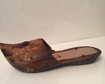 Vintage Wood Slipper, Wooden Carved Slipper