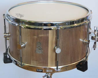 """14""""x7.5"""" Stave snare drum ,American Walnut Snare Drum, S- hoops, Handmade Stave Snare, Wooden snare drum, Custom Snare drum, One of a kind"""