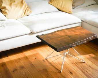 Coffee table, side table, forest edge, table, metal legs, geometric, live edge
