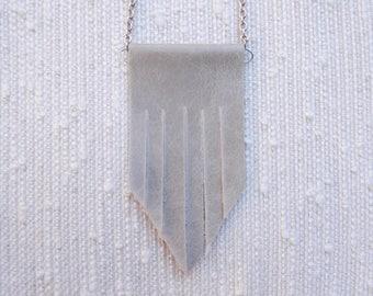 Necklace mini breastplate gray leather