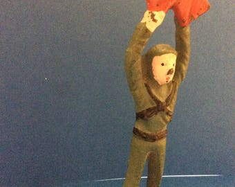 Vintage Iron Casted Soldier Holding Red Flags