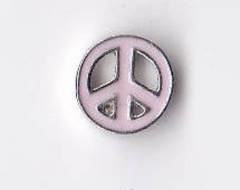 Pink Peace Sign Cutout Floating Charm