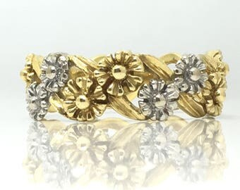 """Vintage 2 Colour Yellow & White Gold Floral Full Hoop """"Daisy Chain"""" 18ct Band Dated 1979 Ring Size P"""