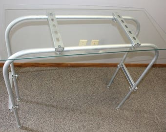 Custom Industrial Steel and Glass Table