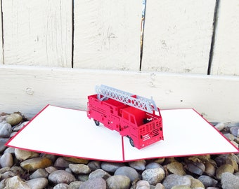 Fire Truck 3D Pop Up Card, Fire Truck Card, Father's Day Card, Birthday Card for Him, PopCardExpress, Pop Card Express, birthday firetruck