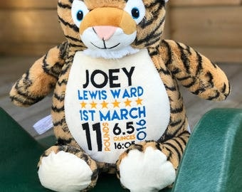 Tiger Cubby with Personalisation | Personalised Teddy | New Baby Gift | Christening Present | Baby Shower | Communion Gift | Birthday