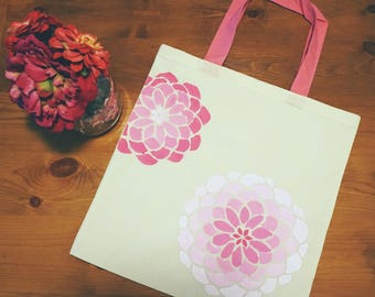 Pink tote bag floral tote bag hand painted 100% cotton