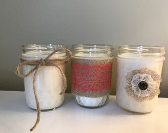 Rustic Mason Jar Candles Set of 3