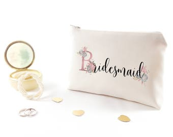 Bridal shower gift for bridesmaid Personalized bridesmaid makeup bag Bridesmaid gift idea Bridesmaid monogram gift Custom bridesmaid gifts