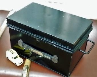 Vintage black metal deed box for that industrial look