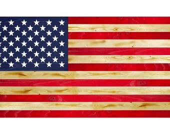 Old Glory American Wood Flag
