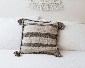 Vintage Textured Pillow with Tassels