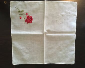 Vintage Red Rose Embroidered Handkerchief