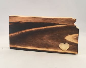 Torched Wood Kansas   Free Shipping   State Wooden Sign Heart Cutout   All States Available   Many Sizes   Wall Art