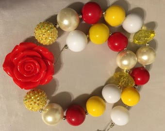 beauty and the beast theme chunky bead necklace