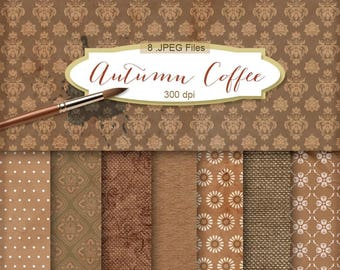 Digital Paper for Scrapbooking Autumn Coffee