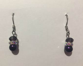 Short Purple Dangle Earrings