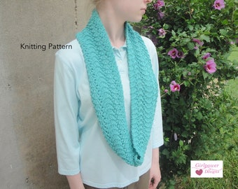 Rippling Infinity Scarf PDF Knitting Pattern, Easy Knit Lace Scarf, Eternity Cowl Circle Loop Scarf