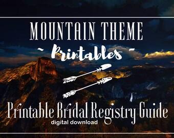 Printable Bridal Registry Guide - Mountain Theme, Boho, Minimalist, Wedding Planning, Planner, Bridal Registry, Wedding Registry, Gift