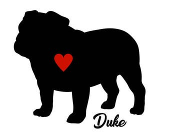 Bulldog Decal, Personalize With Your Dog's Name, Bulldog Sticker, English Bulldog, British Bulldog, American Bulldog, Old English Bulldog,