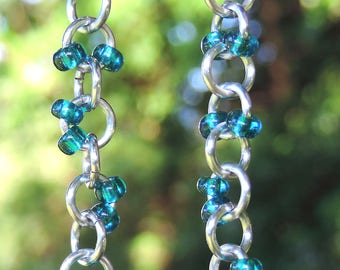 Silver handmade 1 in 1 chain blue glass beaded dangle chainmaille earrings, light weight comfortable beach jewelry