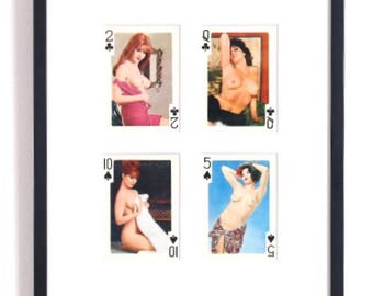 Original Vintage. Collection of Playing Cards, Black Suits. Circa 1980. Framed