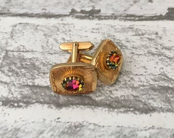 Vintage Watermelon Glass with Gold metal Cufflinks