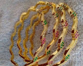 One gram gold bangles, cz bangles, bangles