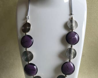 Amethyst and Silver Beaded Necklace