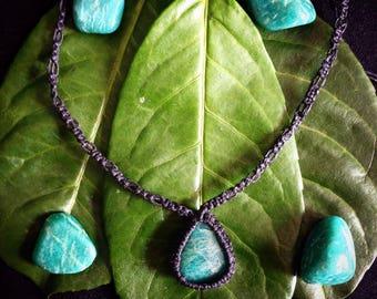 Amazonite Macrame Necklace/ Amazonite Pendant Necklace