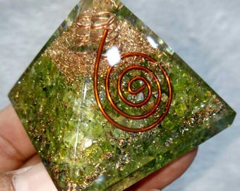 Peridot Orgone Pyramid 50 MM With Crystal ,Copper, Metal And Pyrite