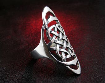 statement celtic ring, silver knot ring, silver celtic ring, celtic ring, womens ring, knot jewelry, ethnic ring, celtic knot