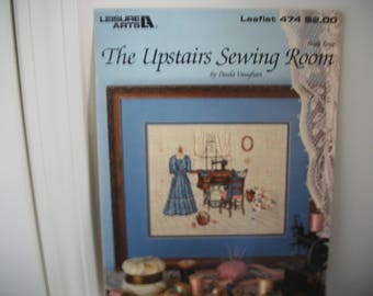 """Cross-stitch Pattern, """"The Upstairs Sewing Room"""" by Paula Vaughn, Leaflet No. 474"""