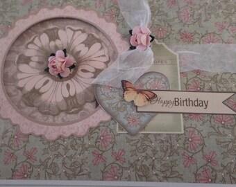 Handmade Birthday Card, Floral, Free shipping,
